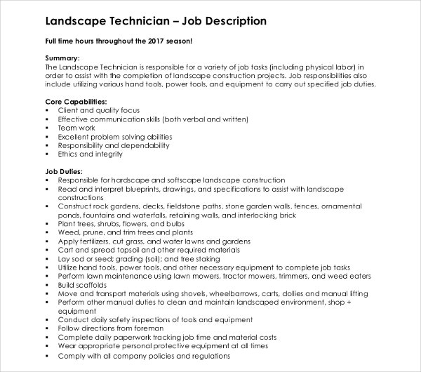 landscape technician job description - Landscape Technician Job Description - Vatoz.atozdevelopment.co