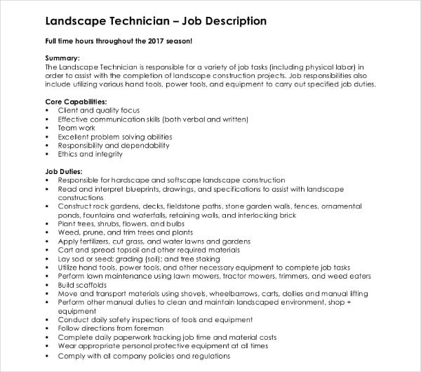 landscape technician job description template
