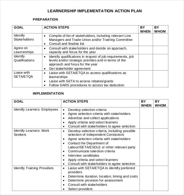 learnership implementation action plan