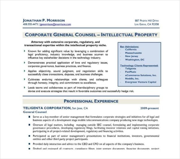 legal attorney resume