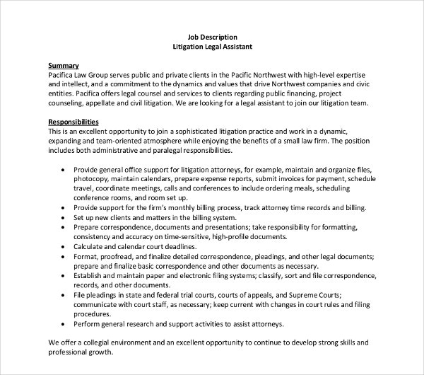 Litigation Legal Assistant Job Description Template