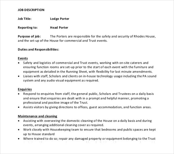 Porter Job Description Templates  Pdf Doc  Free  Premium