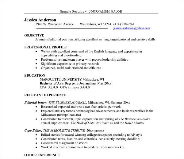 major journalism sample resume