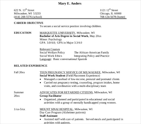 major social worker resume - Social Work Resume
