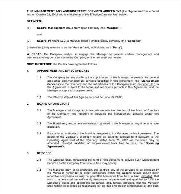 management administrative services agreement