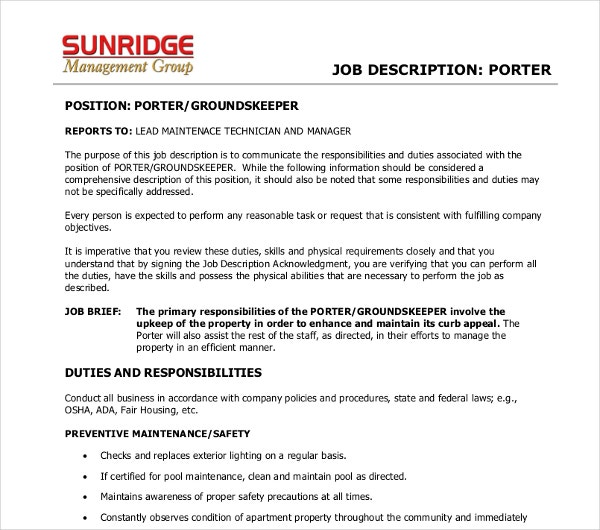 management porter job description