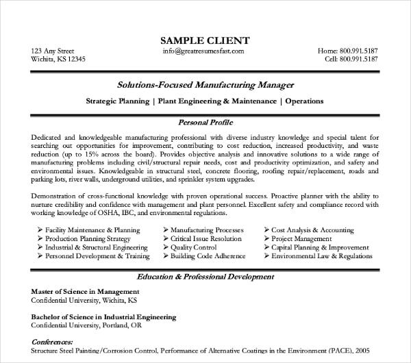 manufacturing manager curriculum vitae