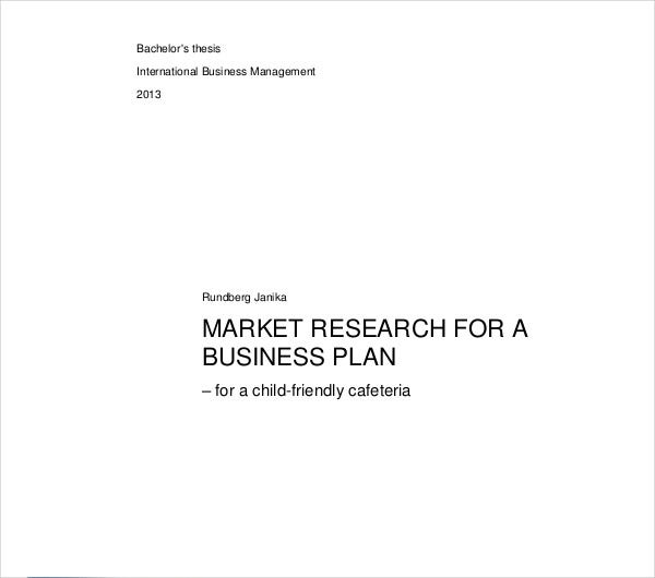 market research for business plan
