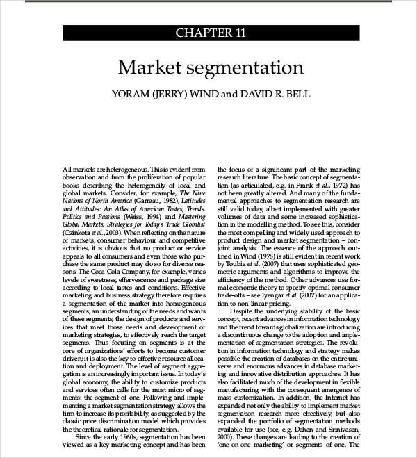market segmentation research proposal