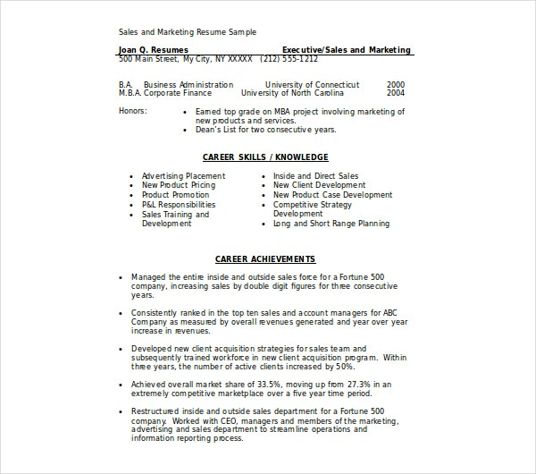 marketing executive sales resume