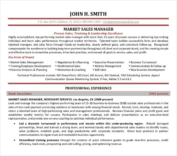 Sales Manager Resume Templates. Marketing Sales Manager Resume.  Greatresumesfast.com