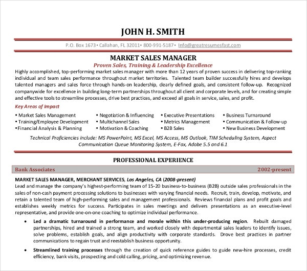 marketing sales manager resume - Sales Manager Resume Template