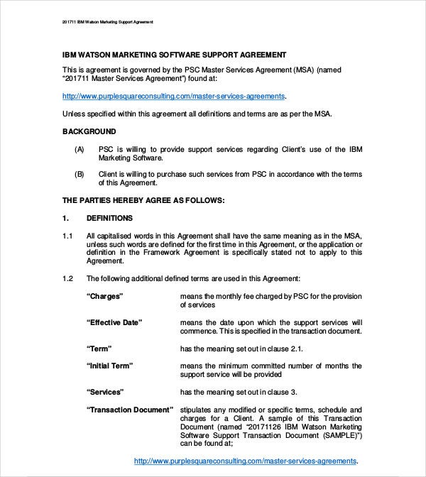 marketing support services agreement