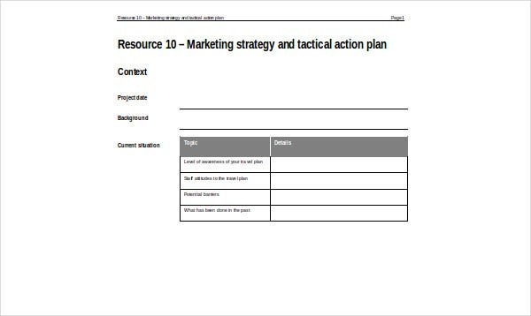 marketing strategy tactical action plan