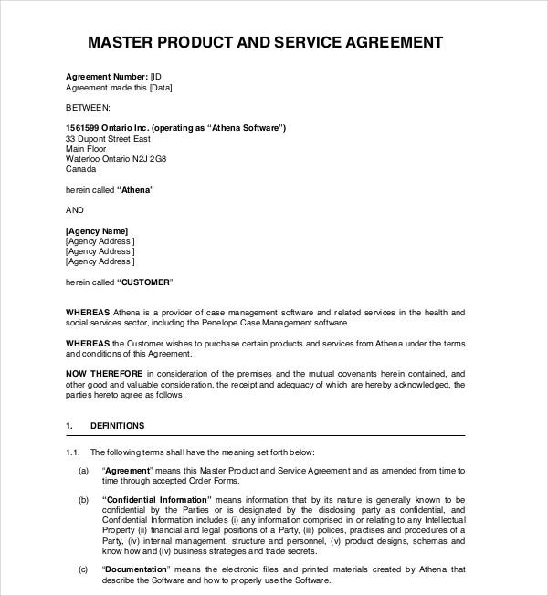 master product service agreement
