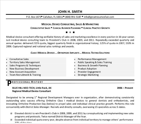 medical device sale resume1