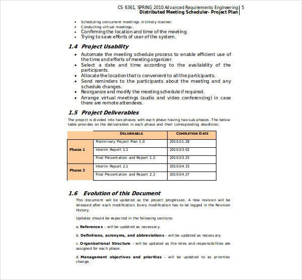 meeting scheduling system project plan 1