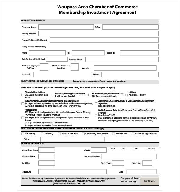 membership investment agreemen