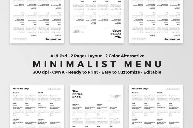 Minimalist Food Menu