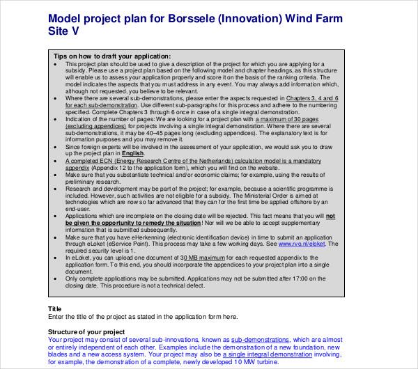 model project plan