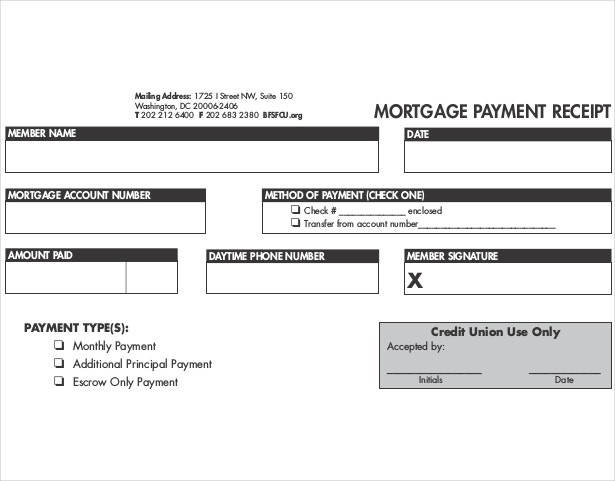 Mortgage Payment Receipt