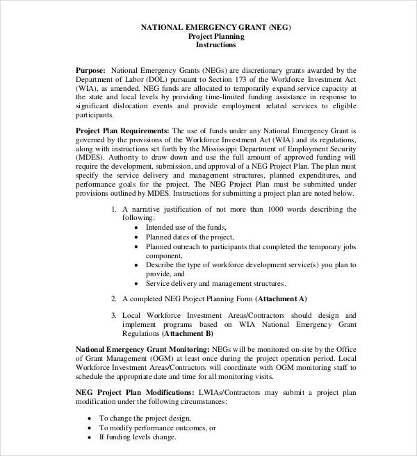 national emergency grant plan