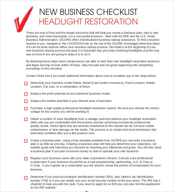 new business checklist headlight restoration