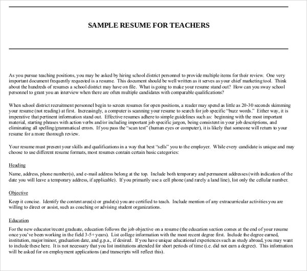 20+ Teacher Resume Templates - PDF, DOC