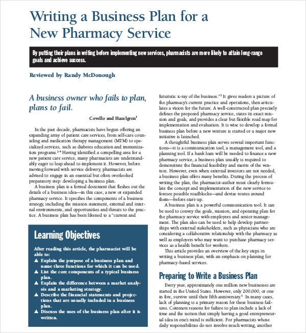 new pharmacy business plan