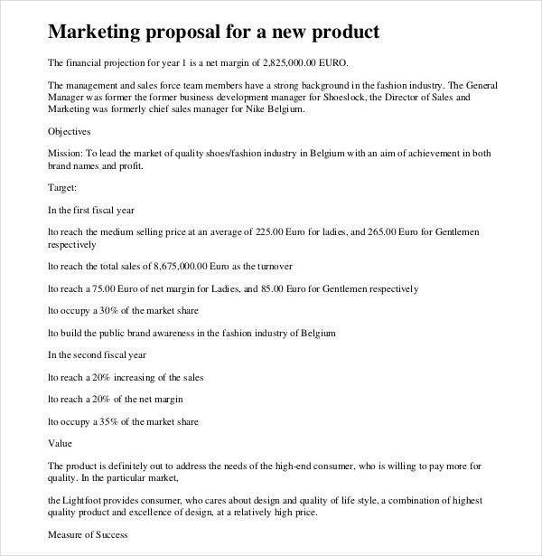 new product marketing proposal