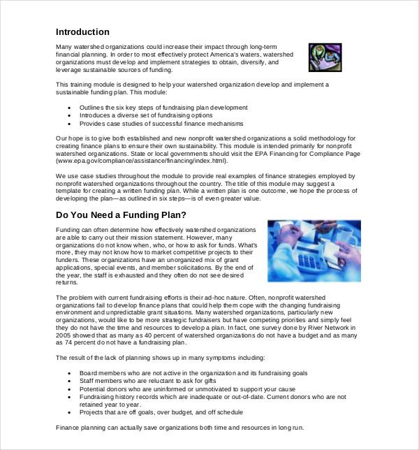 non profit financial development plan