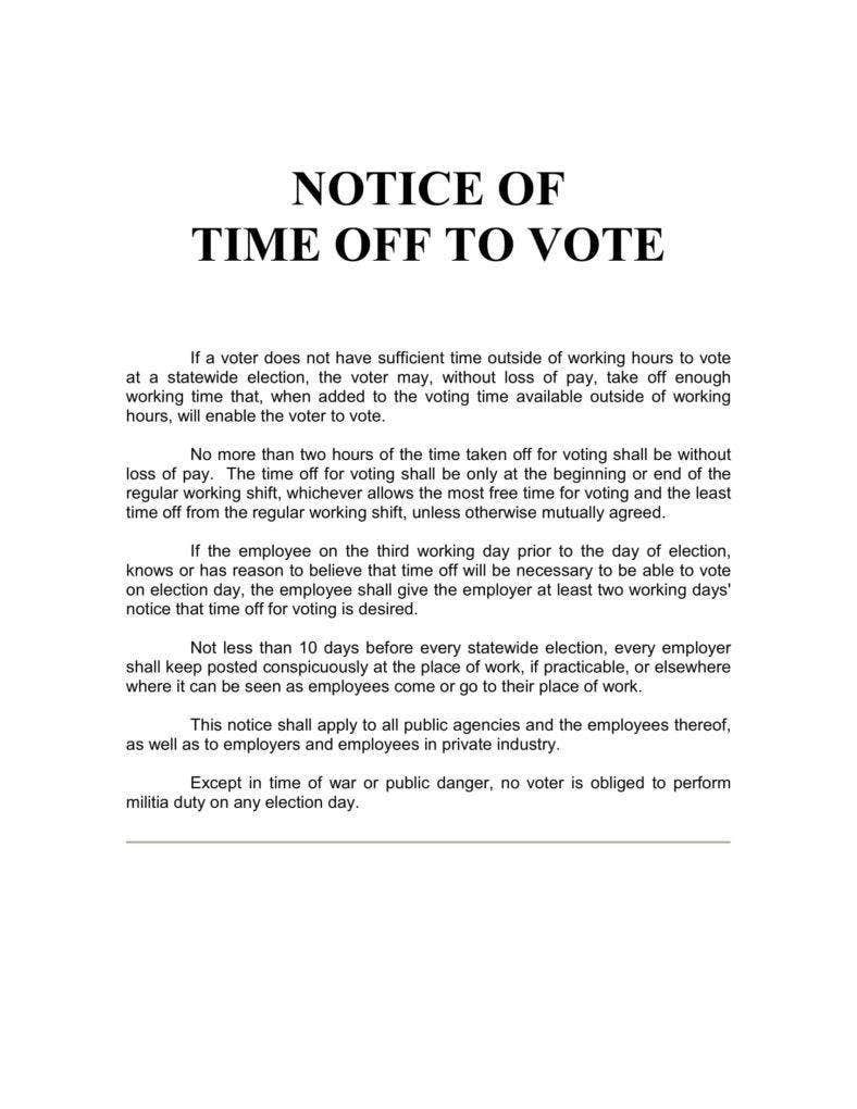 Notice of Time Off to Vote
