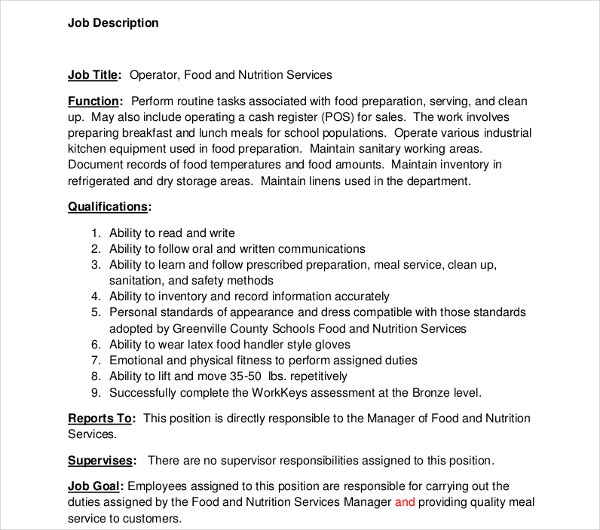 nutrition service job description template