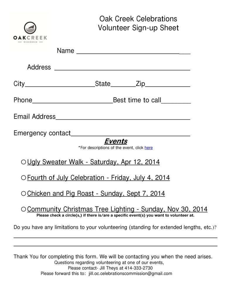 Oak Creek Volunteer Sign-Up Sheet