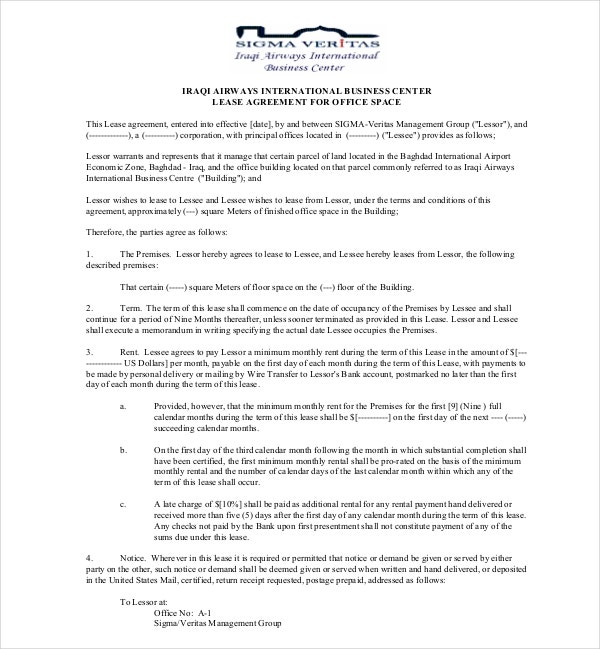 7 Office Lease Agreement Templates Pdf Doc Free