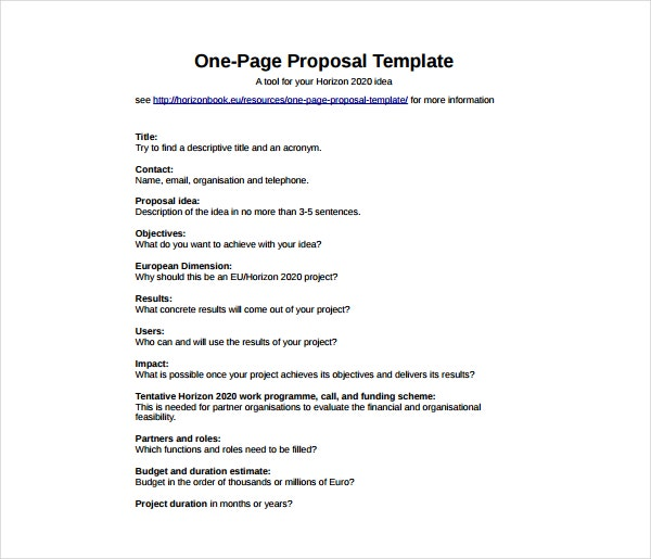 How To Write A One Page Proposal Templates Pdf Free Premium