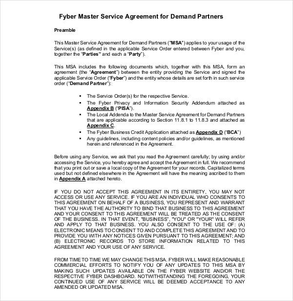 partners master service agreement