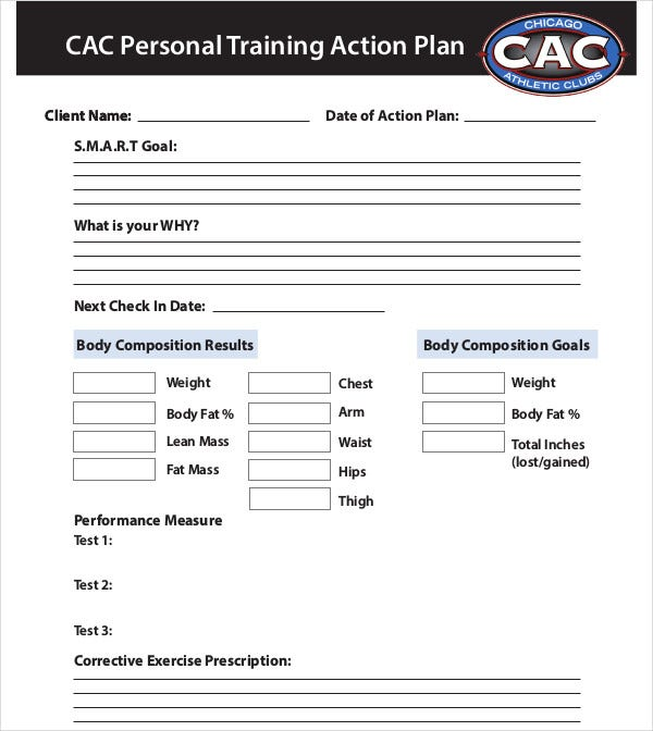 personal training action plan