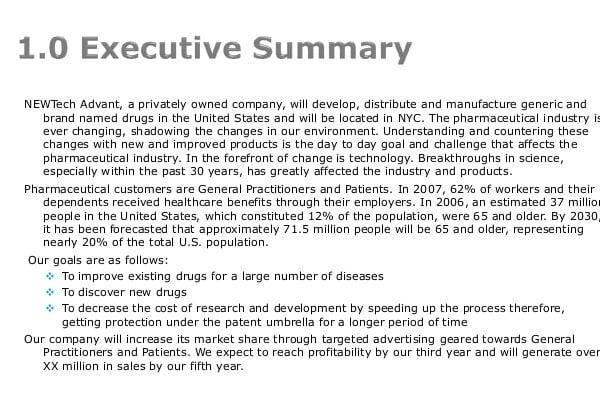 pharmaceutical business plan