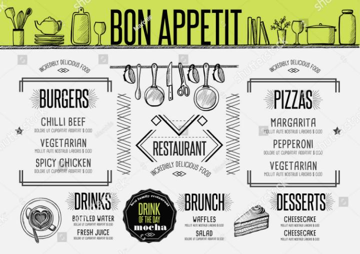 placemat restaurant menu food label template