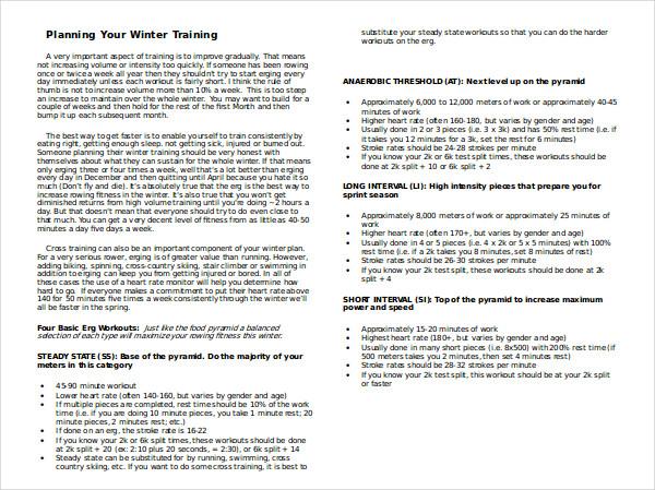 planning your winter training