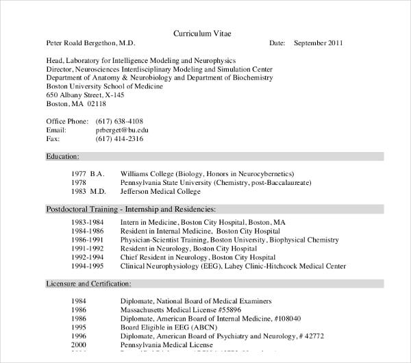 postdoctoral internship curriculum vitae