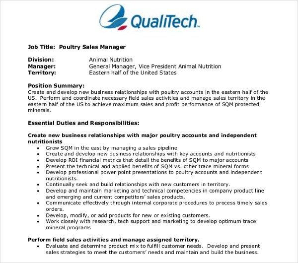 poultry sales manager resume