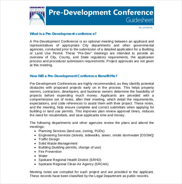 pre development conference project plan