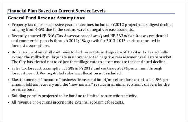 preliminary five year financial plan