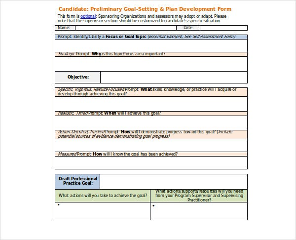 preliminary goal setting plan development plan