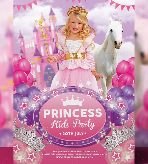 Princess Kids Party Flyer