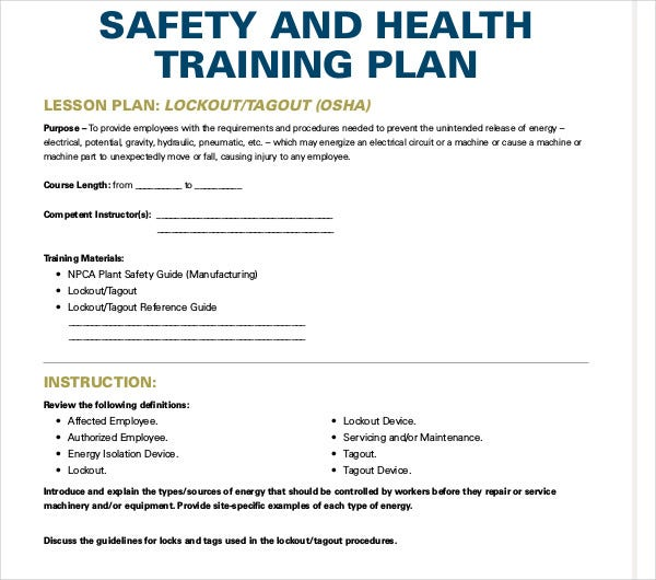 printable health and safety training plan