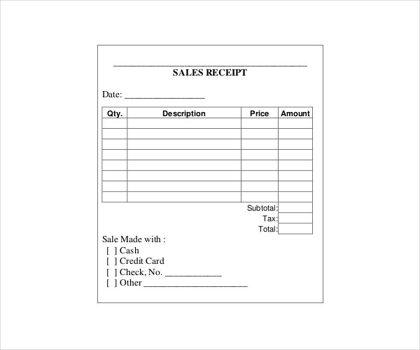 Printable Sales Receipt Template in PDF