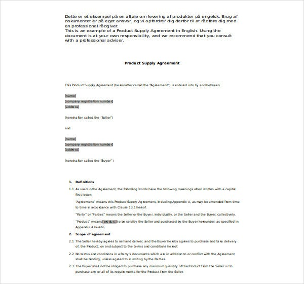 product supply agreement